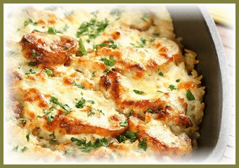 kartofel`naia zapekanka s kuritcei
